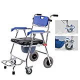 Folding Wheelchair, Rolling Commode Chair - Shower Chair Waterproof Aluminum Portable Bedside Commode Chair with Pedal (4 Wheels)