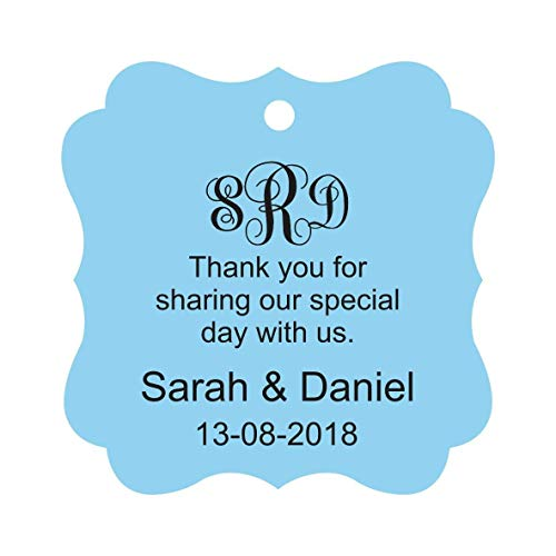 Darling Souvenir Thank You For Sharing Our Special Day Custom Monogram Initials Hang Tags Personalized Wedding Favor Gift Tags-Baby Blue-100 Tags