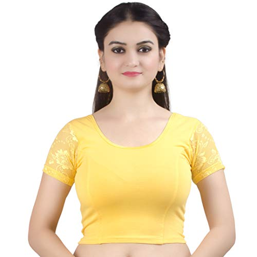 Chandrakala Women's Stretchable Readymade Lycra Yellow Indian Ethnic Saree Blouse Crop Top Choli-Medium (B102YEL3)