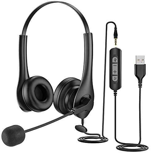 USB Headset with Microphone Noise Cancelling 3.5mm Computer Headset with in-Line Call Control, Comfort-fit 300 Degree Boom Mic Headset with Microphone for Laptop, PC, Call Center, Phone, Skype, Zoom