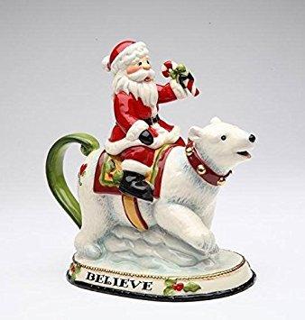 Cosmos Gifts 10632 Santa Riding Polar Bear Teapot, 12-Ounce, 7-5/8-Inch ()