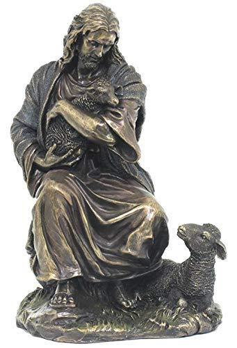 XoticBrands Jesus Holding A Lamb (Mbz+Color) - Religious - Cold Cast Bronze Sculpture