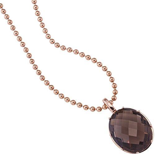Pendentif en quartz fumé facettes ovale marron & or 585 pour femme or rose