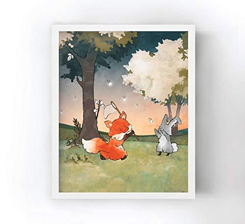 11x14 Borderless Matte Heavyweight Paper - Fox and Rabbit Nursery Art Print - Chasing Fireflies