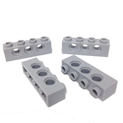 Lego Parts: Technic, Brick 1 x 4 with 3-Holes (PACK of 4 - LBGray)