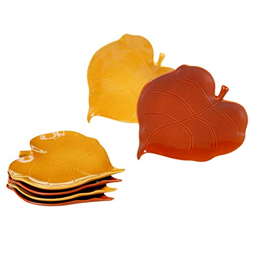Certified International 22776SET6 Autumn Fields 3-D Leaf Appetizer Plates, Set of 6 Assorted Designs, One Size, Mulicolored