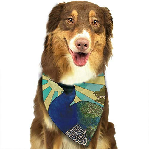 OURFASHION Art Nouveau Peacock Bandana Triangle Bibs Scarfs Accessories for Pet Cats and Puppies -