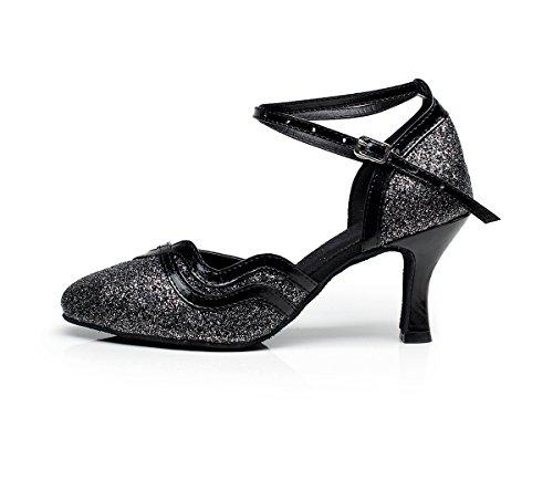 Minishion Chiuso Cinturino Alla Caviglia Glitter Glitter Tango Salsa Latino Ballo Da Ballo Scarpe Da Ballo Da Sera Pompe Nero-7,5cm Tacco