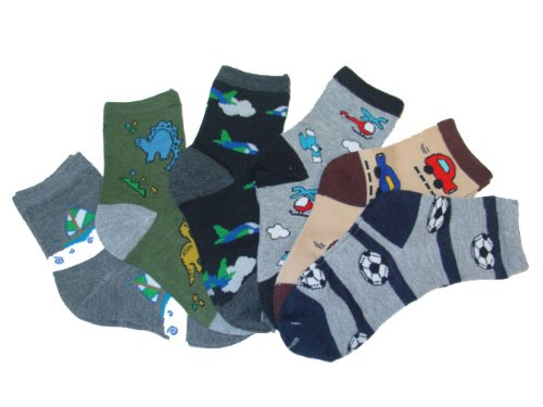 7-10 L 6 Packs Toddlers Kids Fun and Cute Computer Socks , Pattern 2