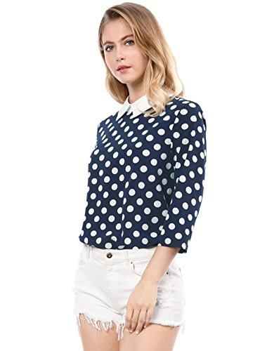 (Allegra K Women 3/4 Sleeves Contrast Peter Pan Collar Polka Dots Blouse Blue XL)