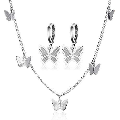 DOMEI Butterfly Choker Necklace Earrings Set, Butterfly Necklace and Earring Sets for Women, Gold Butterfly Jewelry Set for Girls (Silver)