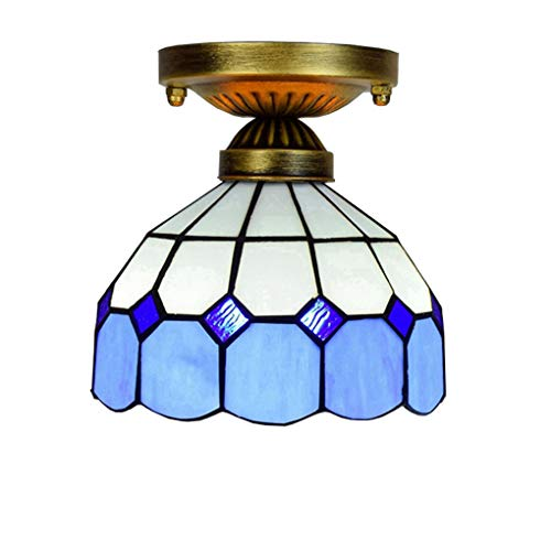 Luz de techo de 8 pulgadas, lámpara de techo estilo Tiffany, araña creativa Europea de cristal, luz empotrada mediterránea...