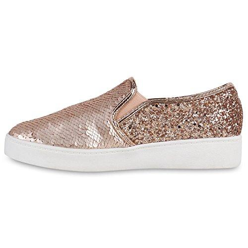 Stiefelparadies Damen Sneaker Slip Ons mit Plateau Glitzer Flandell  38 EURosa Weiss Metallic