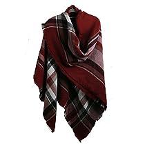 MissShorthair Womens Plaid Blanket Scarf Big Tartan Scarf Neck Warmer for Winter