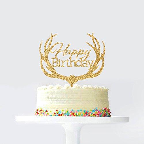 Gold Acrylic Happy Birthday Cake Topper Antler Shape Birthday Cake Decoration