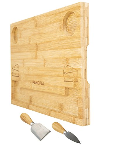 Bamboo Cheese Board Serving Tray - Bonus 2 Stainless Steel knives, EXTRA LARGE & Thick [16x11x1] Unique Wooden Cutting Board Charcuterie Platter for Wine, Cracker, Brie, Meat, Dip, Chip by PandPal