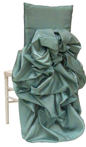 Iridescent Taffeta - Wildflower Linen Iridescent Taffeta Diana Chiavari Chair Sleeve, Turquoise