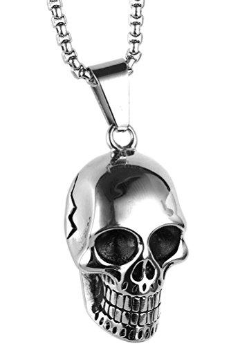 Silver Tone Gothic Metal Skull Charm Pendant - 2