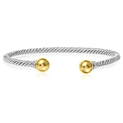 Unique royal jewelry Solid 925 Twisted Black Antique Finish Sterling Silver and 14k solid Gold 2-Ball Cuff Bracelet free shipping iqA6CiHn