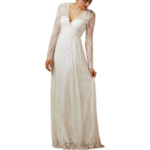 Elegant Women's Beach Amore Sleeves Bridal Long Lace Bridesmaid White Wedding Dress fTa6Hxqw