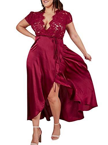 (Glamaker Women's Elegant Plus Size V Neck Lace Satin Wrap High Low Party Cocktail Maxi Dress Burgundy)