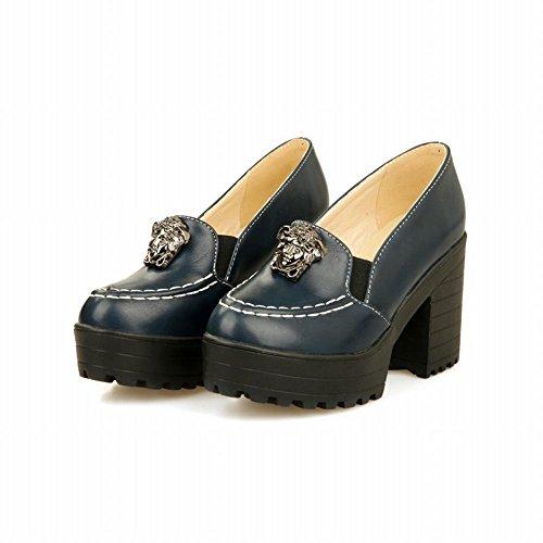 Latasa Femmes Plate-forme De Mode Bloc Talons Hauts Pompes Chaussures Bleu Foncé