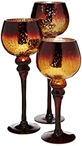 Home Essentials Mercury Chocolate Hurricanes Candle Holders, Set of 3 by Home Essentials