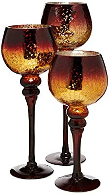 Home Essentials Mercury Chocolate Hurricanes Candle Holders, Set of 3