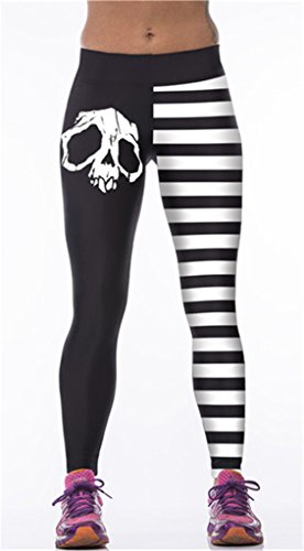 Fortuning's JDS Creative stripes & skull pattern high elastic running yoga fitness sports pants leggings by Fortuning's JDS®