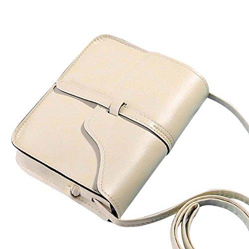 Vintage Crossbody, AgrinTol Vintage Purse Bag Leather Crossbody Shoulder Messenger Bag (Beige) by Agrintol_Fashion Bags (Image #1)