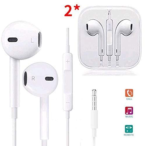 Parmeic in-Ear Earbuds Headphones, 2 Pack Wired Earphones Stereo Bass Noise Cancelling Ear Buds Headsets with Microphone and Volume Control Compatible with iPhone 6 6s Plus 5s 5c and All 3.5mm Phones