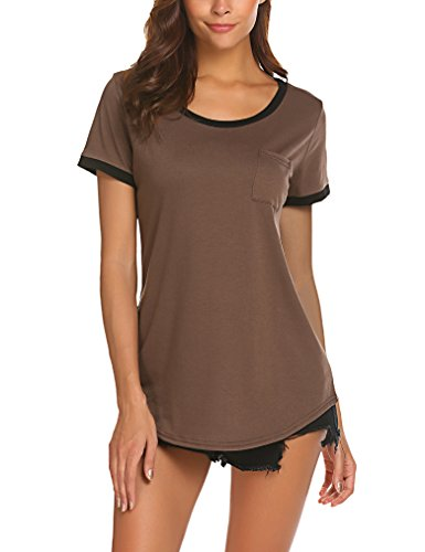 Qearal Women's Summer Basic Short Sleeve Tops Casual Loose Cotton T-Shirts with Pocket (L, Coffee)