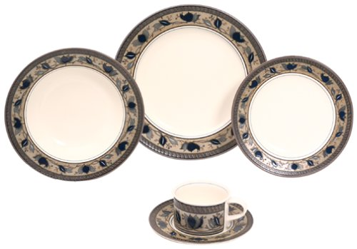 Mikasa Arabella 5-Piece Place Setting, Service for (Flow Blue Dinner Plate)