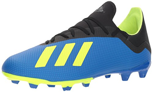 adidas Men's X 18.3 Firm Ground Soccer Shoe, Football Blue/Solar Yellow/Black, 7 M US