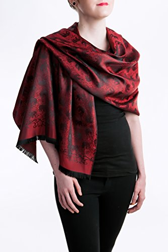 "Opulent Luxury Scarf Shawl Wrap Reversible 100% Silk Soft Silver & Black 72"" x 27"""
