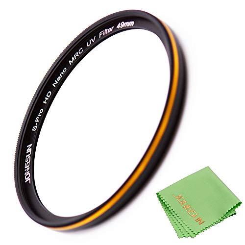 JONGSUN 49mm UV Filter,S-Pro HD Nano MRC UV Filter 49mm,16 Layers Multicoated,Ultra-Slim, Lens Cloth Included Kit,for Nikon Canon Sony Pentax etc Camera Ultraviolet Protection Filter