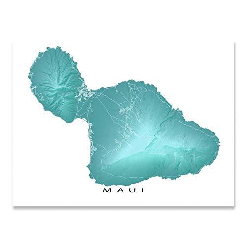 Maui Hawaii Map, Landscape Art, Hawaiian Island Artwork