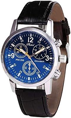 Relojes Hombre Yesmile Vidrio de Rayos Azules Cuarzo Neutro simula Relojes Relojes epidermales de muñeca Correa de Cuero Reloj
