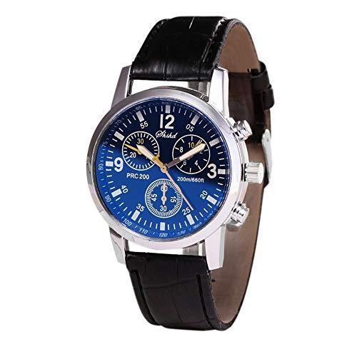 Dial Japanese Quartz Movement - Big Luxury Men's Wrist Watch - Leather Watch Band - 40mm Analog Watch - Japanese Quartz Movement (B)