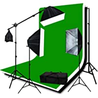 ePhotoInc 3200K Warm TEMP Lighting Photography Studio Video Lighting 3 Muslin Backdrops 10 x 12 Chromakey Green Black White Screen Background Support System H9004SB2-1012BWG 3200K