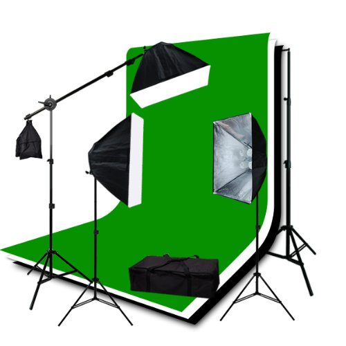 ePhotoInc 3200K Warm TEMP Lighting Photography Studio Video Lighting 3 Muslin Backdrops 10 x 12 Chromakey Green Black White Screen Background Support System H9004SB2-1012BWG 3200K by ePhotoinc