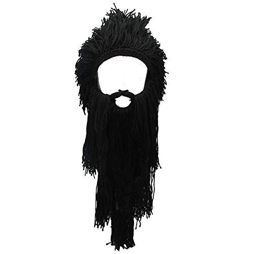 YEKEYI Barbarian Knit Long Beard Hat Adult Viking Fake Hair Wig Visor Knitted Wool Funny Skull Cap Black -
