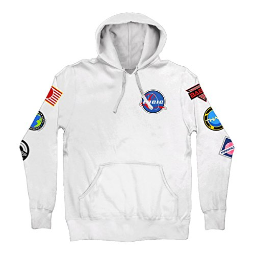Logic Space Patches Pullover Hoodie White (Large)