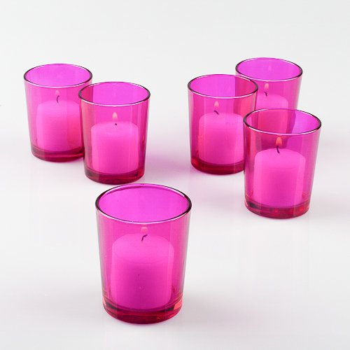 Set of 12 Pink Colored Eastland Glass Votive Candle Holders