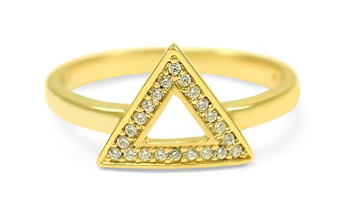 The Collegiate Standard 14k Gold Plated Delta Geometric Triangle Ring with CZs (9.0)