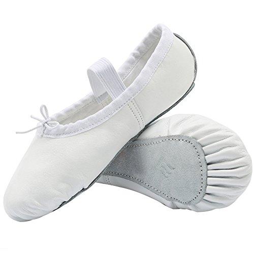Cior Girls Ballet Shoes In Pelle, Suole Spaccate Per (bimbo / Bimbo / Bimbo / Donna Grandi) Bianco