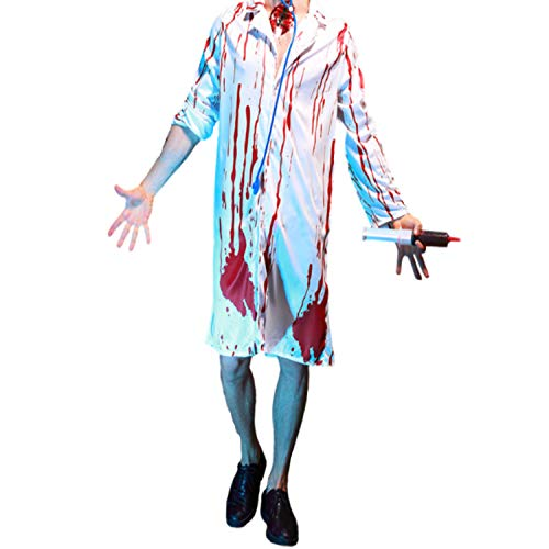 Mitef Adult's Halloween Horror Blood Trace Doctor Cosplay Costume Suit with Stethoscope for Men]()