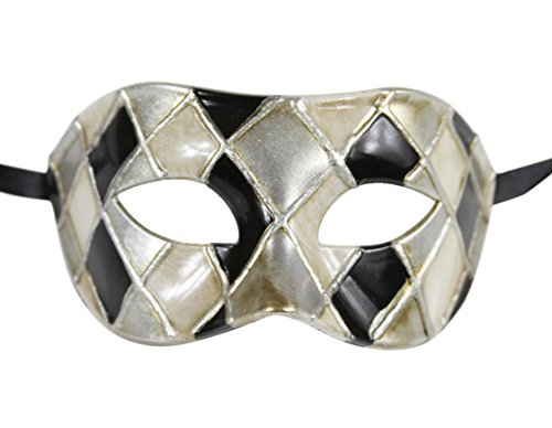 Luxury Mask Men's Vintage Design Masquerade Prom Mardi Gras Venetain, Black/Silver Checkered, One Size