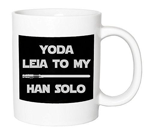 Yoda Ceramic (Haysoms Fun Star Wars-esque Ceramic Mug Gift - Yoda Leia To My Han Solo with Lightsaber)