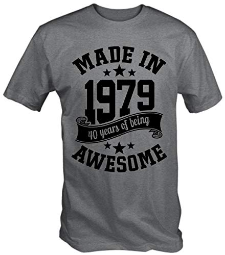 6TN Men's Made in 1979 40 Years of Being Awesome 40th Birthday T Shirt (Large, Sport Grey)]()